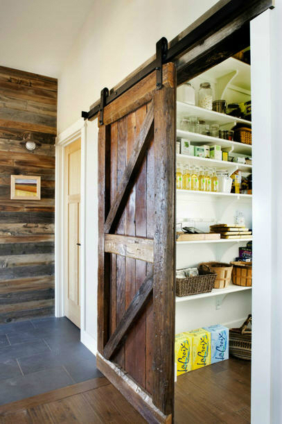 Rustic sliding barn door for a kitchen pantry