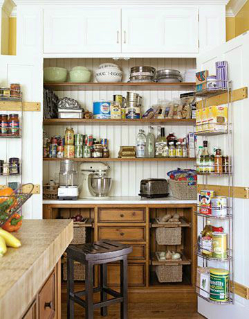 kitchen pantry combining storage and work station