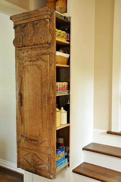 kitchen pantry with antiwue wood door