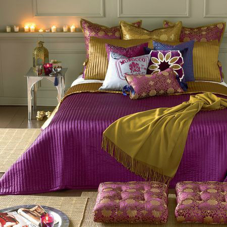 Mustard With Purple Bedroom Color Scheme