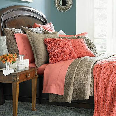 Navy blue with coral bedroom color combination