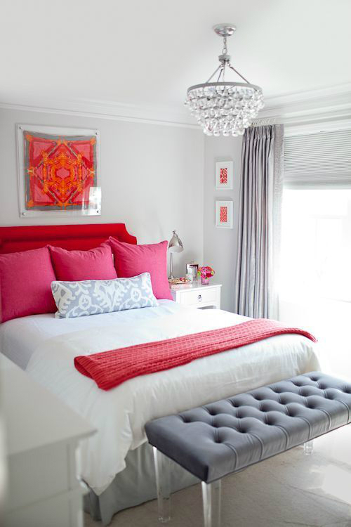 Red pink bedroom color scheme