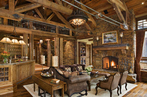 Rustic Log Home Decor: 40 Awesome Rustic Living Room Decorating Ideas
