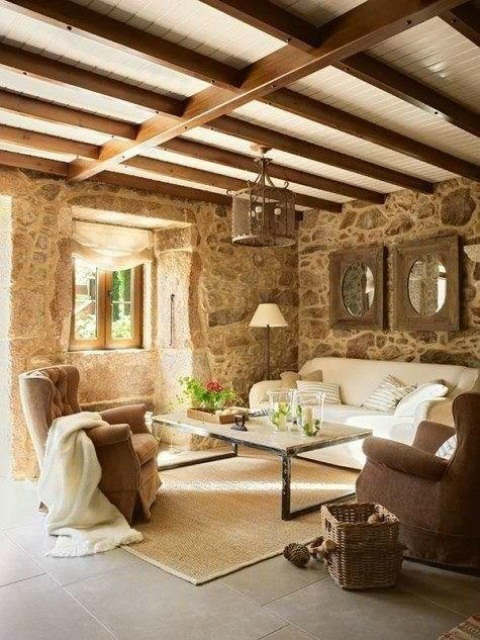 rustic living room decorating idea 36