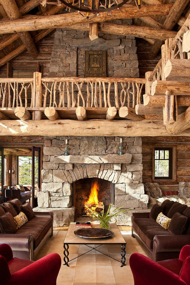 rustic living room decorating idea 17