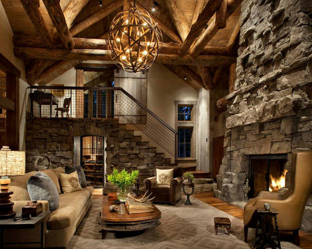 Charming ... Rustic Living Room Decorating Idea 13 ...