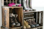 DIY vintage crate boot rack