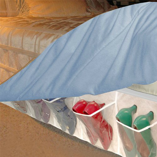 Shoe storage underneath a bedskirt