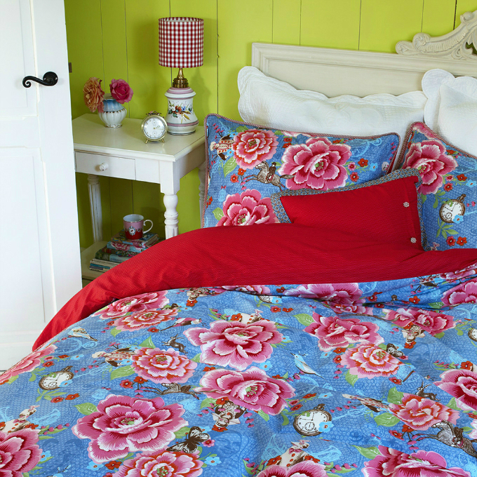 multi colored bedding set with red
