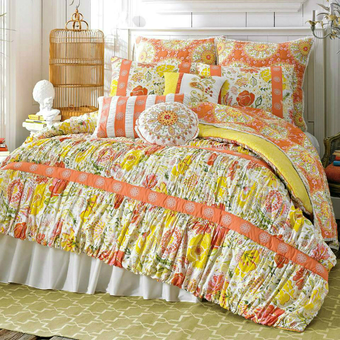 colorful comforter sets wih orange and yellow