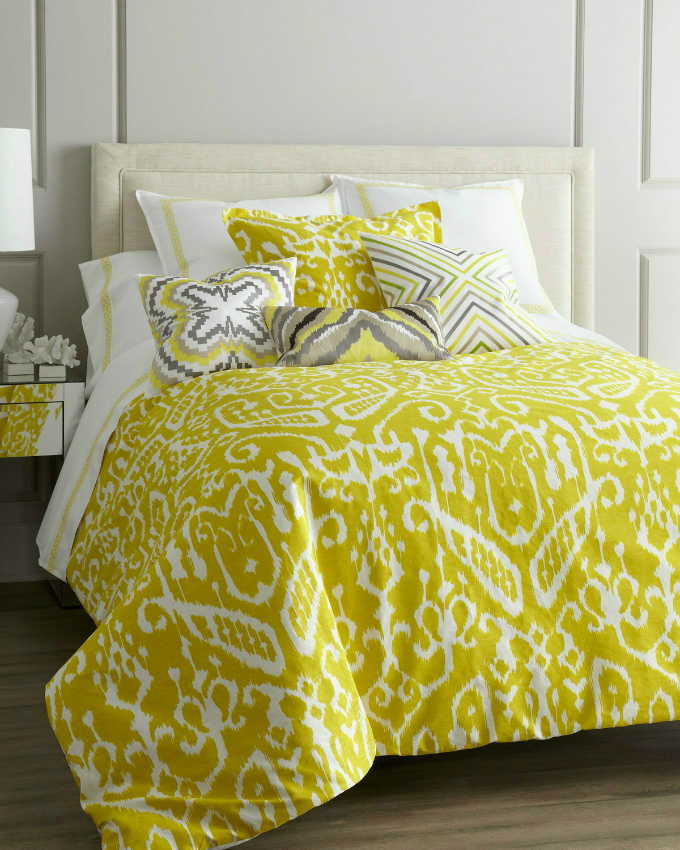 yellowish multi colored bedding set