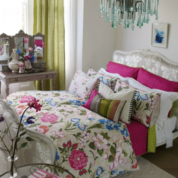 Lotus Flower Jewel Coloured Floral Bedding Set by Designers Guild