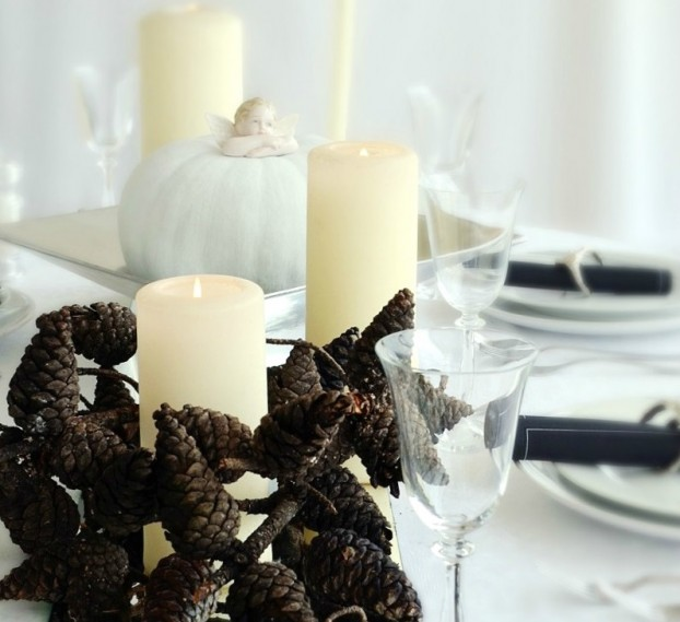 romantic thanksgiving table decorations with pine cones branch white pumpkin and angel 2