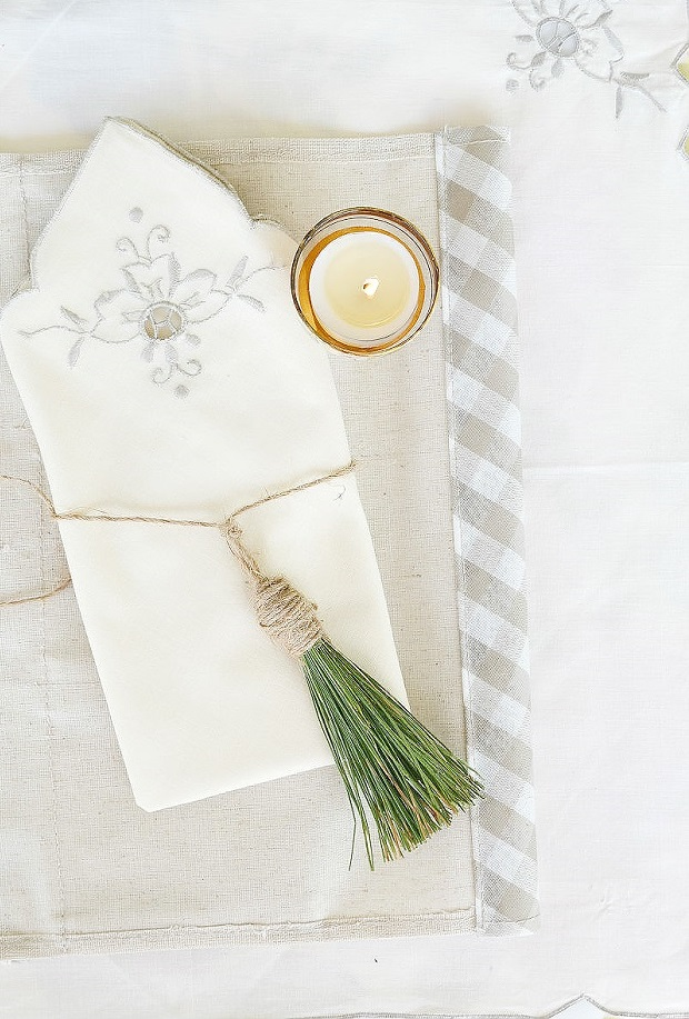 country rustic diy napkin ring tassel by pine needles