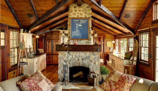 Wood Traditional Living Room Design Cabin 2