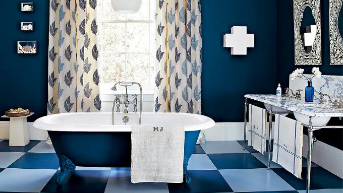 dark blue bathtub