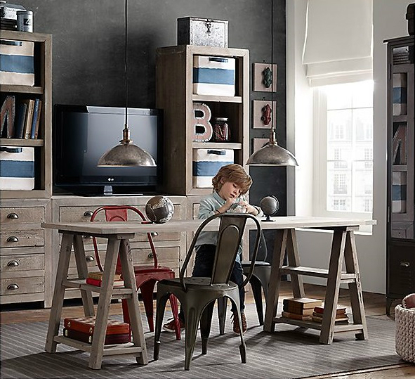 Vintage Industrial Yet Cute Kids' Playroom Ideas 15