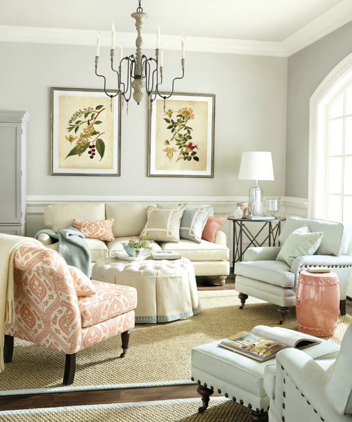 pastel colors and a chandelier