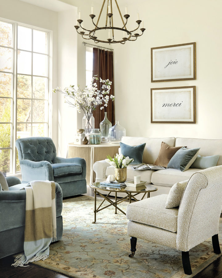 blue beige and white living room