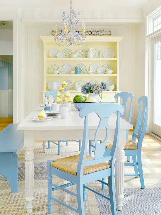 light blue wooden chairs