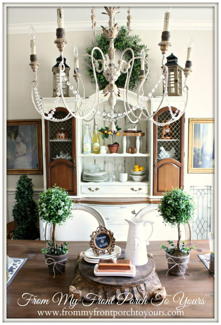 Dining Room Storage Ideas with big chandelier