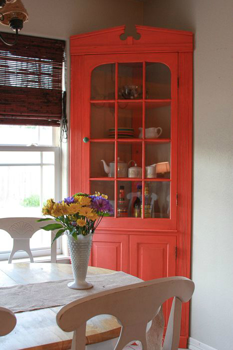 Awesome Dining Room Storage Ideas 19. Bright Poppy Painted Corner Cabinet ...