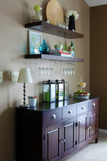 Awesome floating shelves in the dining room by Jen, IHeart Organizing ...