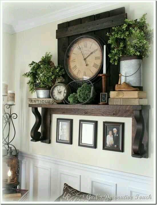 clock on a shelf