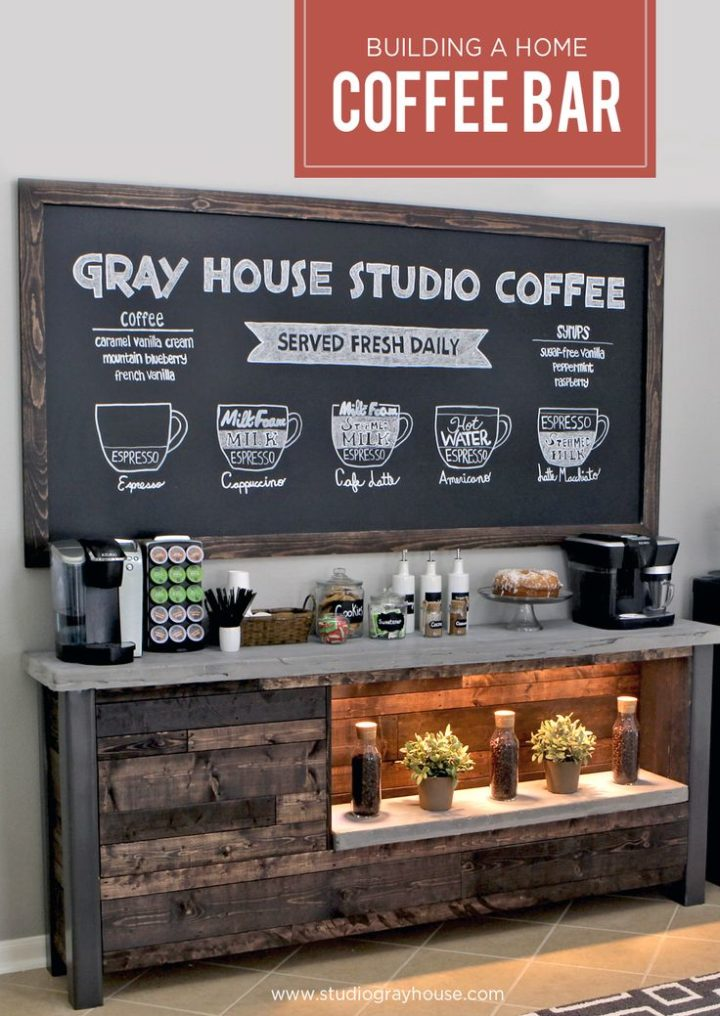 coffee bar shelf with chalkboard