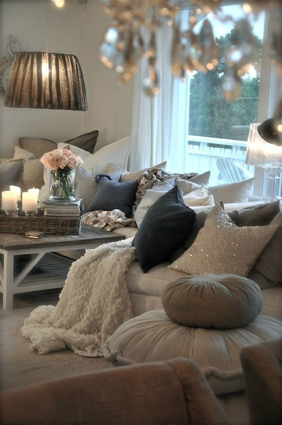 cozy cushions and throws
