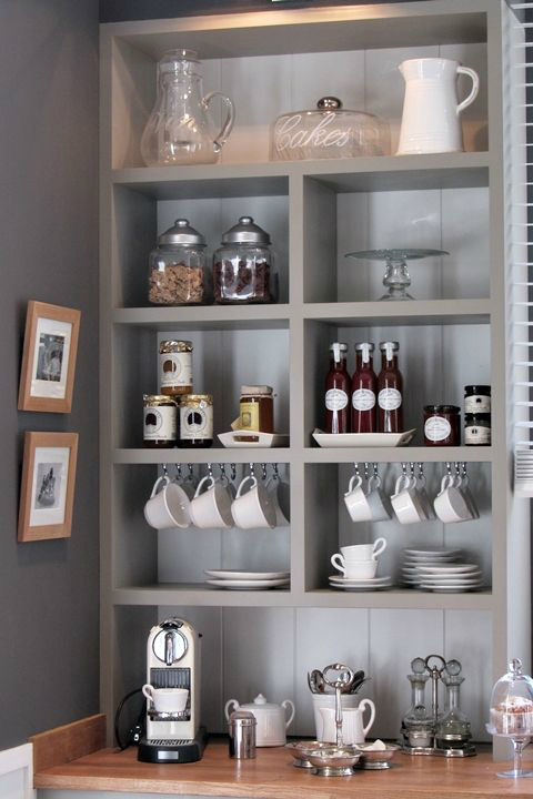white coffee bar shelf