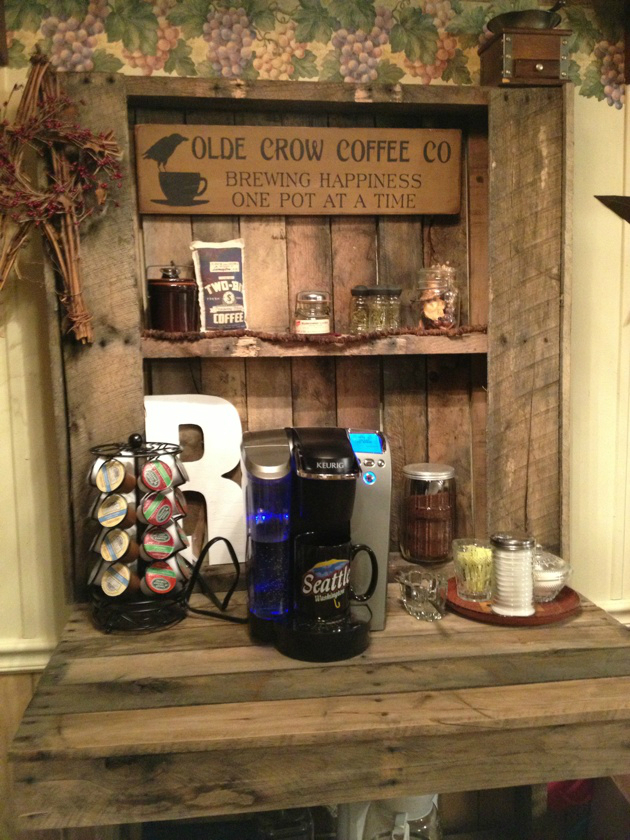 home Coffee bar idea with wood