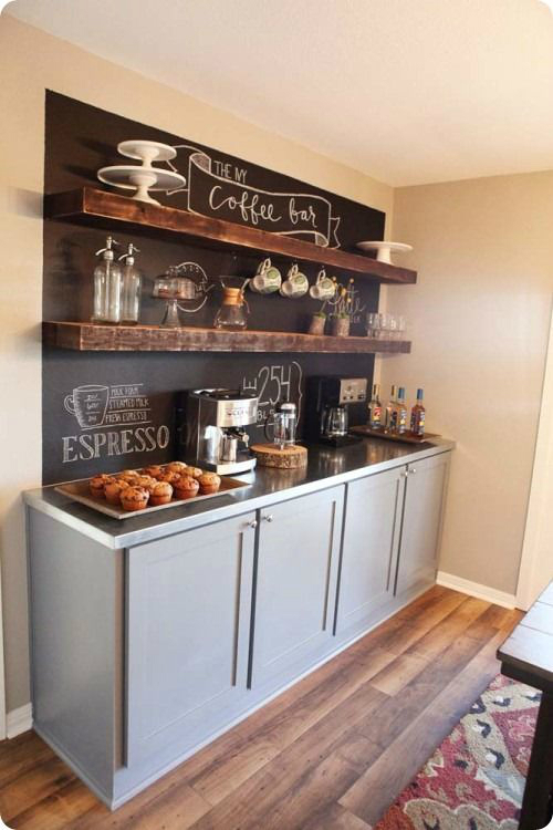 coffee bar shelf with gray cabinets