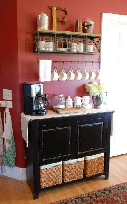 red wall and a coffee bar shelf
