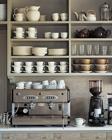 gray coffe bar shelf