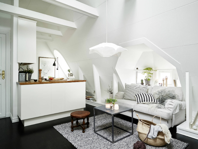 Scandinavian sophisticated small apartment interior 2