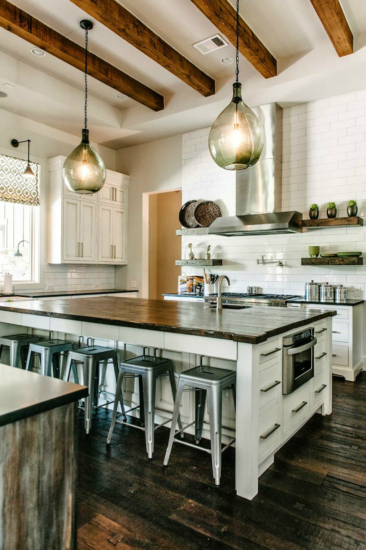 44 reclaimed wood rustic countertop ideas decoholic for Modern rustic farmhouse plans