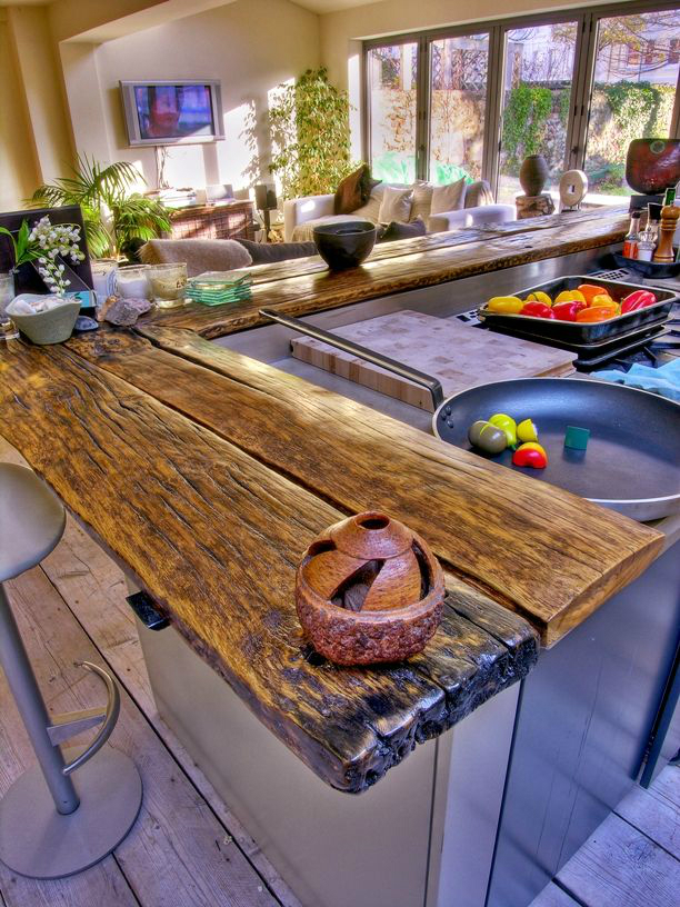 44 Reclaimed Wood Rustic Countertop Ideas 17