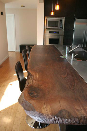 44 reclaimed wood rustic countertop ideas decoholic for Natural edge wood countertops