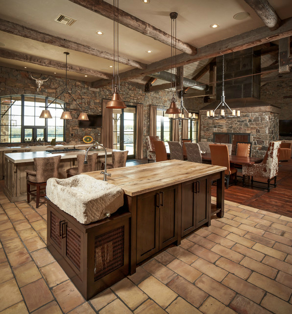 44 reclaimed wood rustic countertop ideas decoholic for Rustic kitchen floor ideas