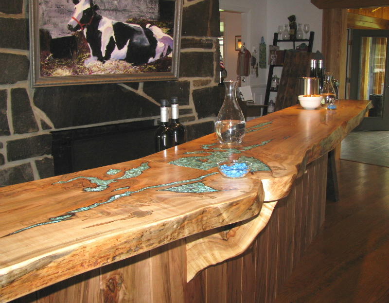 turquoise inlay in countertop