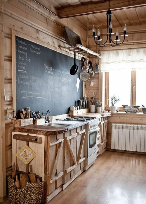 wood kitchen cabinets and chalkboard