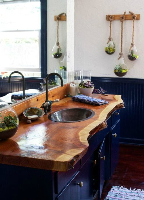 44 Reclaimed Wood Rustic Countertop Ideas 6