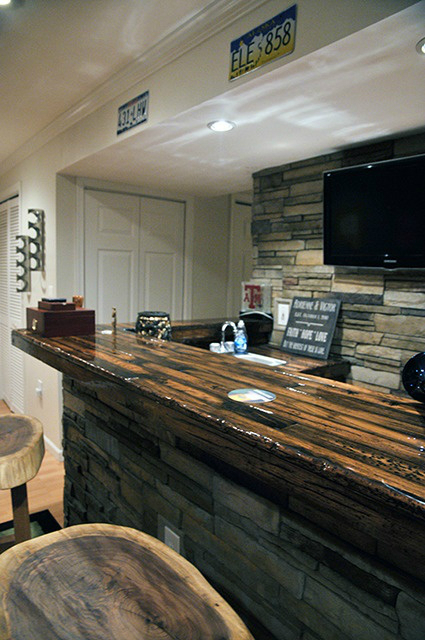 a rustic bar idea with television