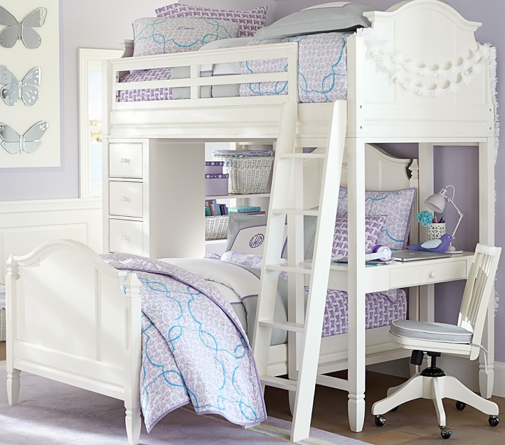 Luxury Madeline Bunk System With Twin Bed Set with desk