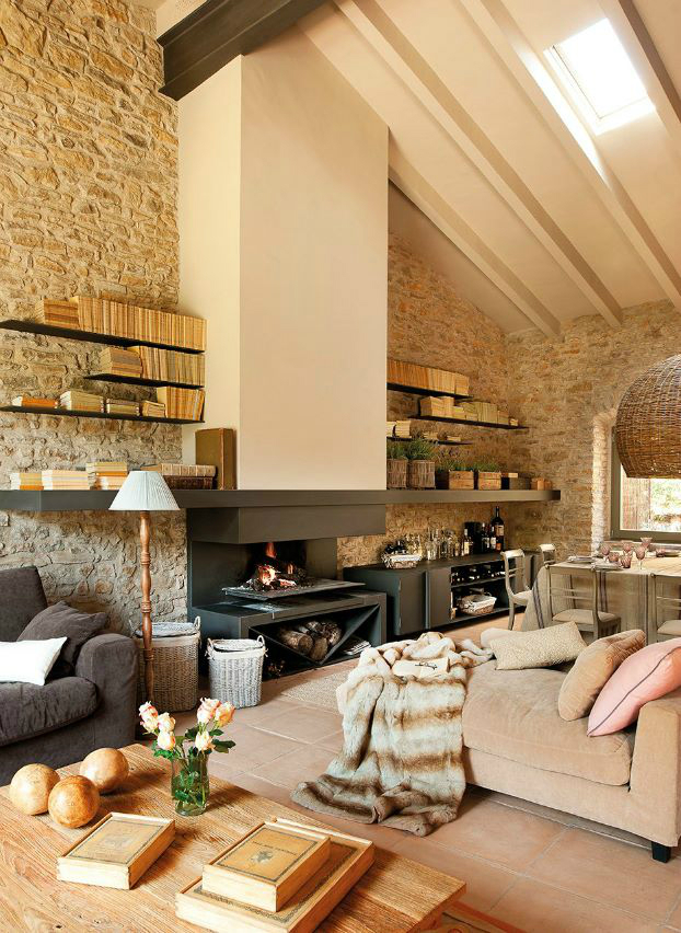 exposed bricks and wood style