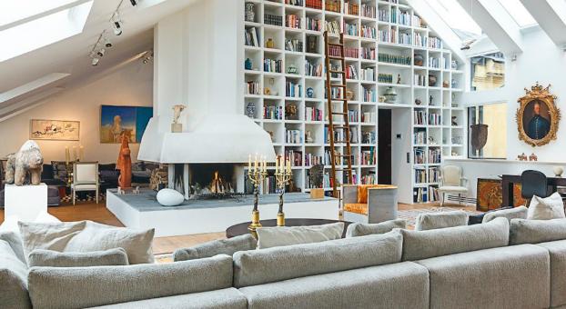wall bookshelf in living room