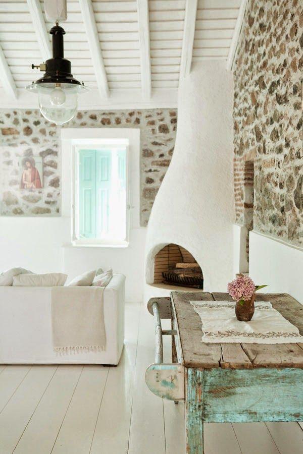 exposed bricks and vintage wood furniture
