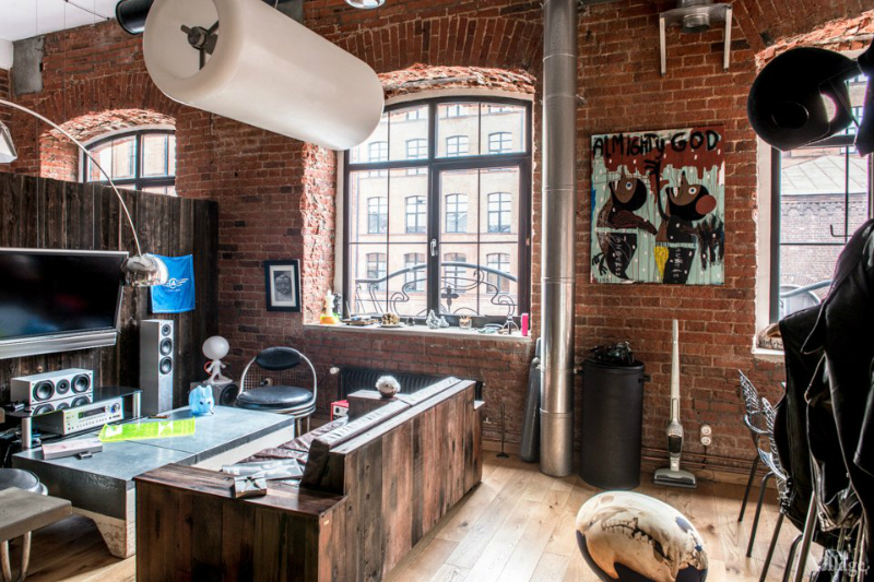 loft interiors with brick walls and wood 3