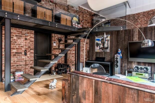 loft interiors with brick walls and wood